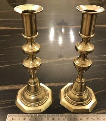 Antique Victorian Brass Diamond Pattern Small Brass Candlesticks With Pushers