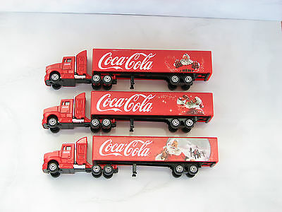 3pc lot Coca cola trucks red Christmas Santa Claus bottle coke gift used rare