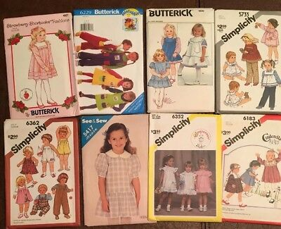 Lot of 8 Vintage toddler sewing patterns, 5 Simplicity, 3 Butterick