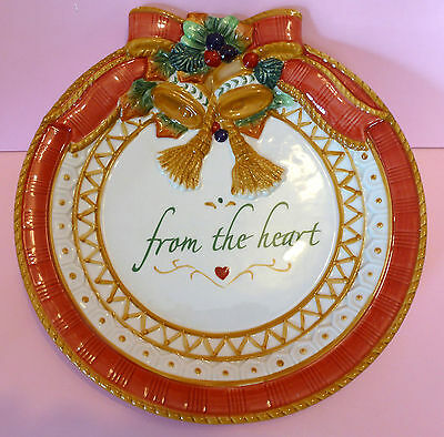 """NIB Fitz and Floyd Cookie Plate Platter """"From The Heart"""" with embossed bells/bow"""