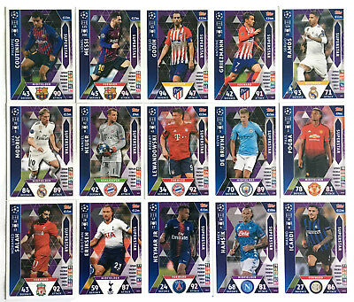 2018 2019 Topps Match Attax Champions League set of 15 cards SUPERSTAR complete