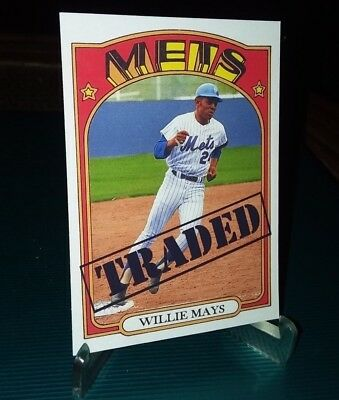 New York Mets Willie Mays 1972 Traded style  Custom Art Card ACEO  Colorized