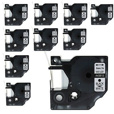"""10PK 43613 Black on White Label Tape for DYMO D1 LabelManager 420P 450 6mm 1/4"""""""