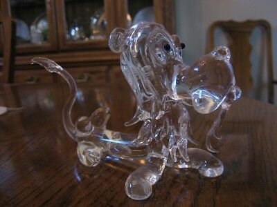 """LION Cat Art GLASS Clear Blown 6-1/2"""" UNUSUAL Goofy Funny - FREE SHIPPING"""