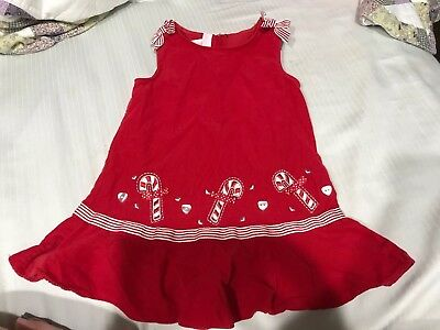 78e052f25f2d Girls Size 24M Bonnie Baby Red & White Corduroy Candy Cane Jumper/ Dress EUC