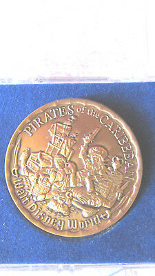 Older Walt Disney Park Pirates Of The Caribbean Ride Bronze Colored Coin W/case