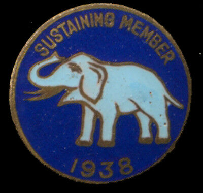 Sustaining Member Republican Party 1938 Enamel Stud Pin Button