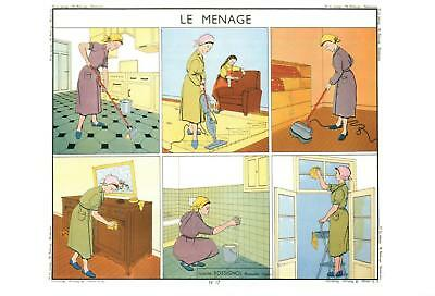 Old Fashioned Women's Housework Postcard - French Language - Le Menage - New