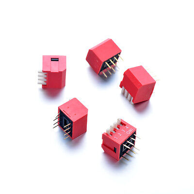 5Pcs 8-pin 2.54mm Red Pitch Slide Type DIP Switch 4-Bit 4 Positions Double Row