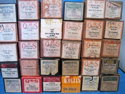 Vintage Lot of 37 Player Piano Music Rolls in Boxes Nice Condition