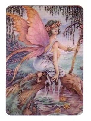 Beautiful  Fairy  With Lge Pink Wings   - Wide Linen Swap Playing Card