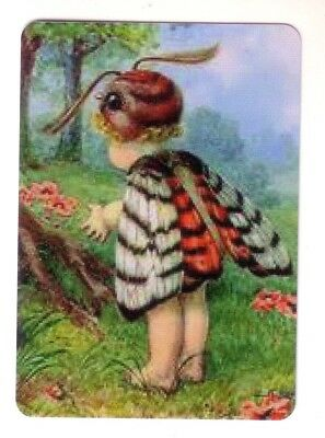 Beautiful Fairy Moth Child  - Wide Linen Swap Playing Card
