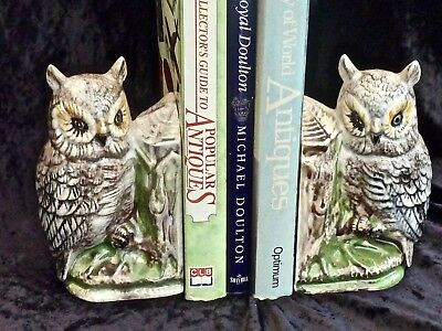 Collectable Vintage Porcelain Hand Crafted Owl Bookends Signed By Artist C 1950'