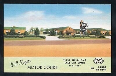 postcard U.S. Route 66 Will Rogers Motel Roadside in Tulsa OKLAHOMA County