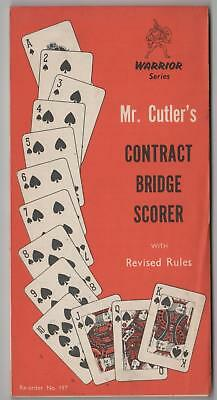 RARE VINTAGE Mr. Cutler's Contract Bridge Scorer Pad, with Revised Rules, UNUSED