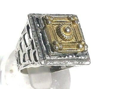 New Roman Style Ring Silver 925 Ancient Roman Design Style top gold P. Isral