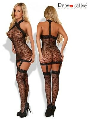 Sexy Neckholder Netz Catsuit Body Stocking Ouvert Netzbody Bodystocking Straps