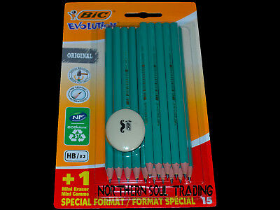 Bic Evolution Wood Free Graphite Pencils *Retail Pack Of 15 Pencils + Eraser*