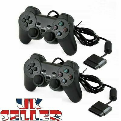Wired Black Dual Shock Controller for PS2 PlayStation Joypad Gamepad UK + BOX
