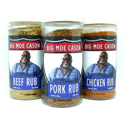 Big Moe Cason's BBQ Rubs - Triple Pack incl Chicken, Beef & Pork - FREE POST!