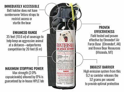 Frontiersman Counter Assault Mace Bear Pepper Spray Deterrent Canister Holster