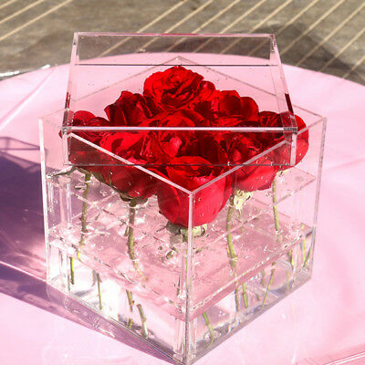 Fashion Clear Acrylic Rose Flower Box Makeup Organizer Cosmetic Tools Holde P4Y9