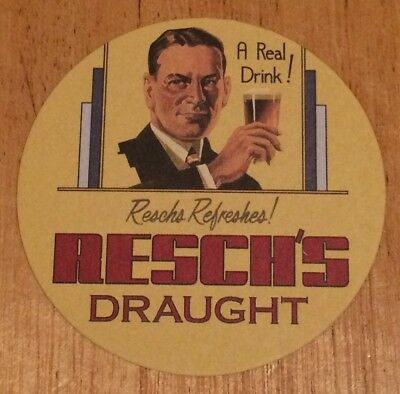 1 x RESCH'S DRAUGHT BEER DRINK/BAR COASTER VINTAGE RETRO ADVERTISING MAN CAVE