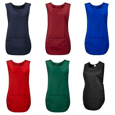 Ladies Cleaning Tabard Womens Apron Catering Overall Bar Kitchen Pocket Workwear