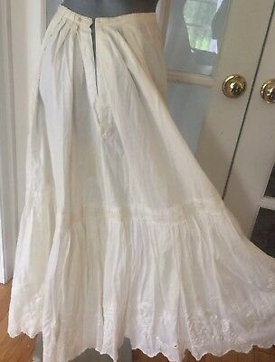 Antique Skirt Off White Cotton Petticoat Embroidery & Lace