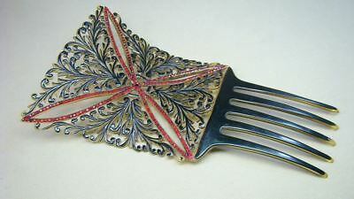 Ornate Antique Celluloid Red Jeweled Tall Hair Comb