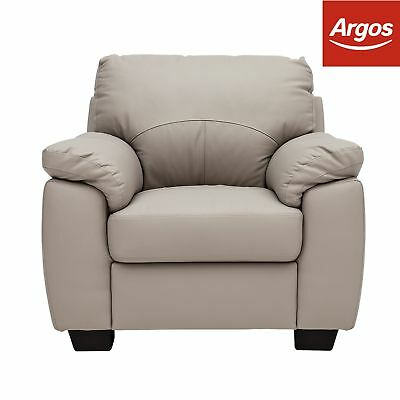 Argos Home New Logan Leather/ Leather Effect Chair - Grey