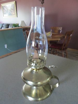 Vintage Finger Loop Brass Lantern With Glass Chimmy