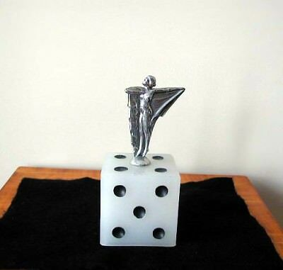 Rare Vintage Art Deco Chrome Drapped Nude Girl On Glass Dice Accent Piece