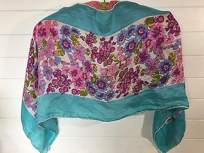 "Vtg Glentex Purple Floral W/Turquoise Band Oblong Silk Scarf 14"" X 43"" Japan"