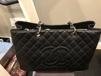 63b8bac5f85394 Auth Chanel Gst Xl Grand Shopping Tote Large Black Silver Hw Shoulder Bag