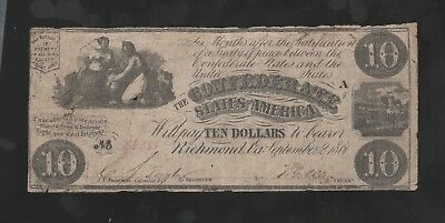 CONFEDERATE STATES OF AMERICA $10. 1861 Type-28