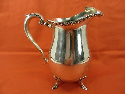 "Vintage ""Crescent Silverware Mfg."" 8.5"" tall footer Pitcher, Silver plated. Nice"