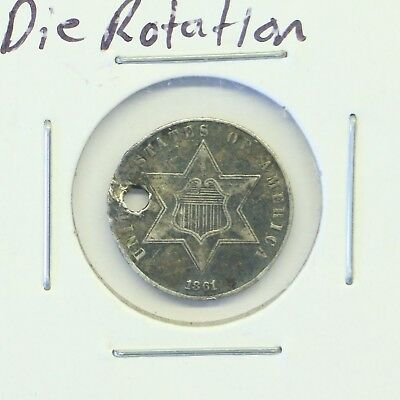 1861 3C Three Cent Silver Piece:180° Die Rotation: Holed