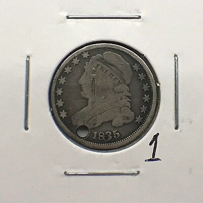 1835 10C Capped Bust Dime: Holed #1