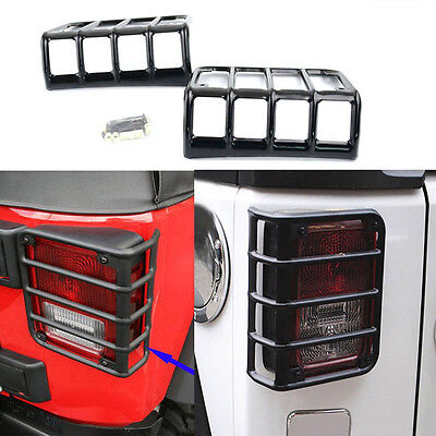 2Pcs Steel Metal Taillight Guard Decorate Cover Trim For Jeep Wrangler JK 07-18