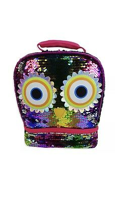 Girls Sequin Owl 2 Way Dual Compartment Lunch Box Bag Sparkle Bling Insulated