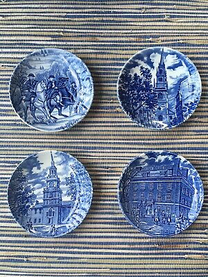 Set of 4 Liberty Blue 4 inch Co Coaster Dishes Wedgwood England Bicentennial
