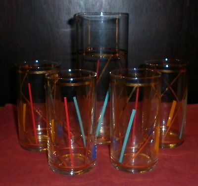 SET 4 1980s GILT TRIM GROOVY CRYSTAL TUMBLERS AND JUG EXCELLENT CONDITION