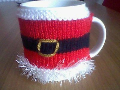 Hand Knitted Christmas SANTA JACKET Red Sparkle Christmas Mug Cosy Cozy Gift