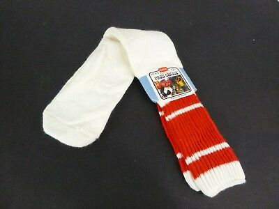 Vtg 70s HANES Pros Choice Orlon Striped Over the Calf Tube Socks Red/White