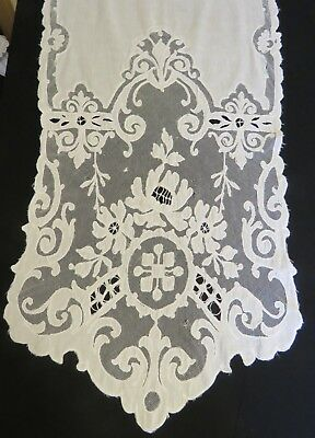 Antique French Curtain Panel Embroidered Lace Handmade Net Tambour Textile