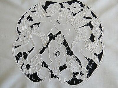 Antique Runner Linen Embroidered Curtain Valance Panel Figural Richelieu Lace
