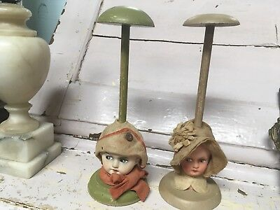 Antique Pair Of French Hat Stands Doll Girl And Boy 1900-1920s #E