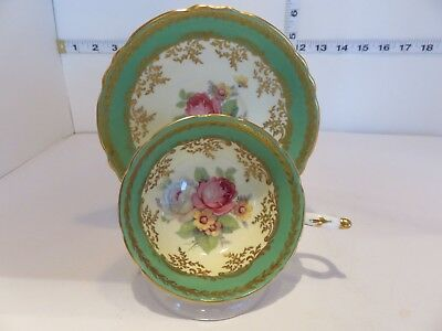 Very Pretty Paragon Wide Mouth Green With Roses Cup And Saucer