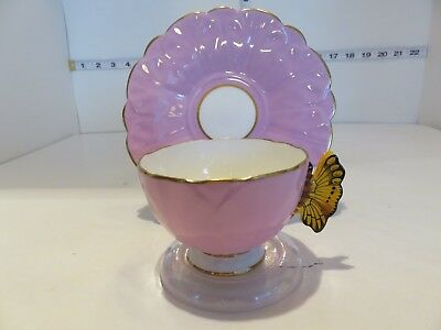 Very Pretty Mauve Aynsley  With Butterfly Handle Cup And Saucer  Awesome
